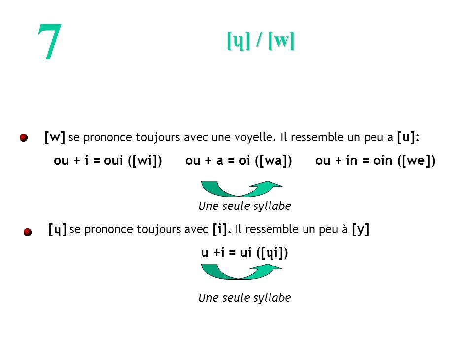 ou + i = oui ([wi]) ou + a = oi ([wa]) ou + in = oin ([we])